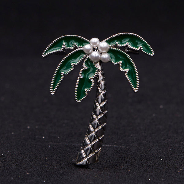 Coconut tree brooch