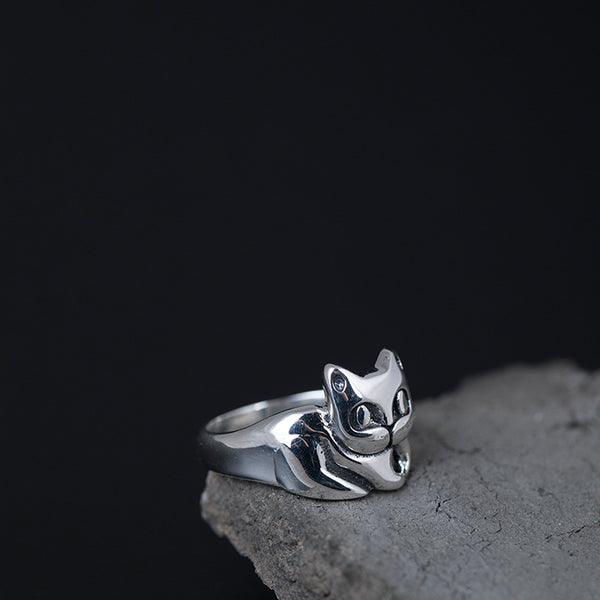 925 sterling silver Cute kitten rings