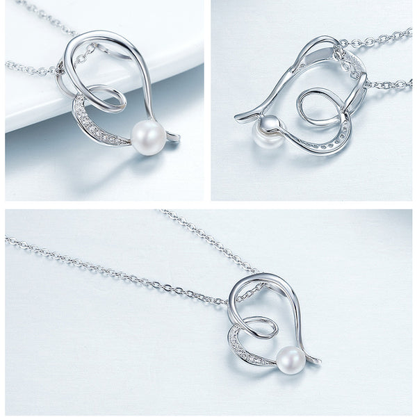 925 Sterling Silver Love pearl necklaces