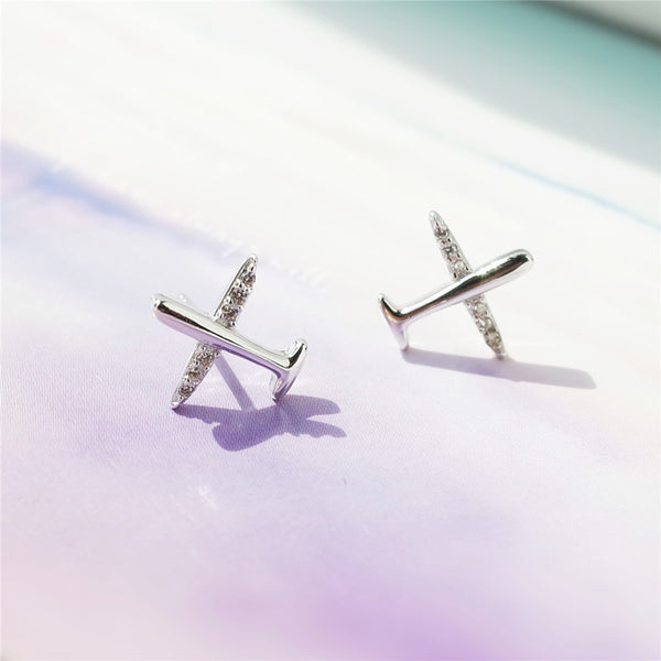 925 Sterling Silver Zircon aircraft earrings
