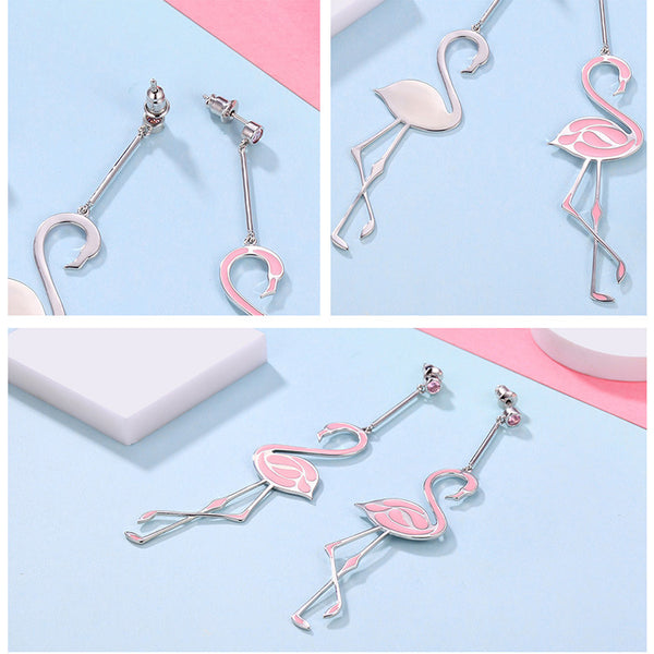 925 Sterling Silver Flamingos Earring