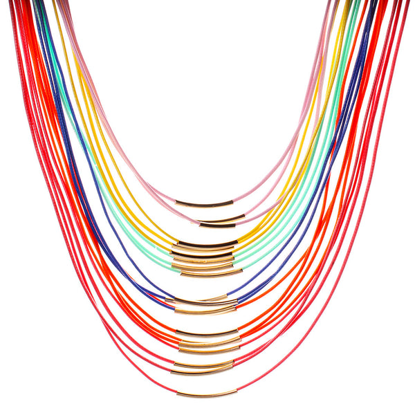 Color leather necklace