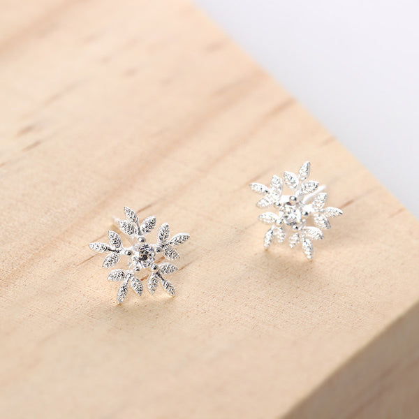 925 Sterling Silver Zircon snow earrings