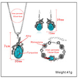 Turquoise Earrings Necklace Bracelet 3pcs Set