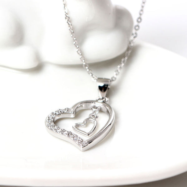 925 Sterling Silver Openwork love necklaces