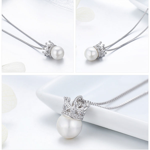 925 Sterling Silver Crown pearl necklaces
