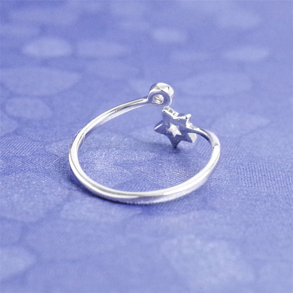925 sterling silver Openwork five-pointed star rings