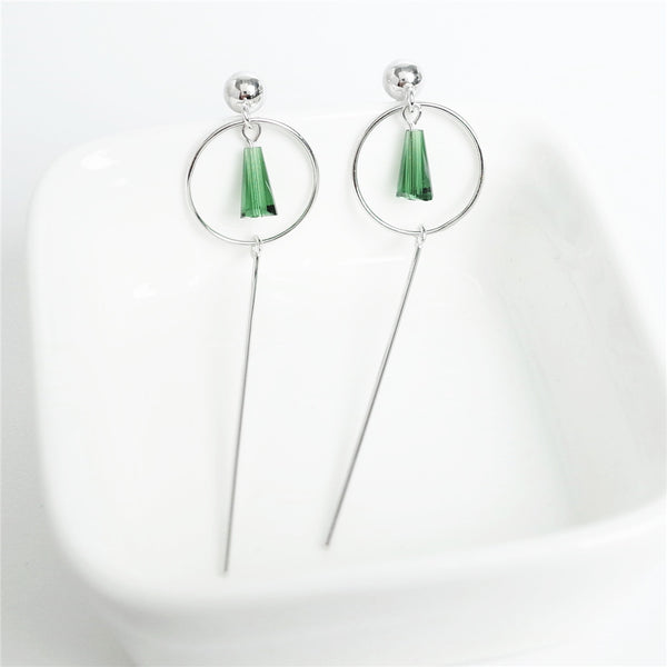 925 Sterling Silver Crystal circle earrings