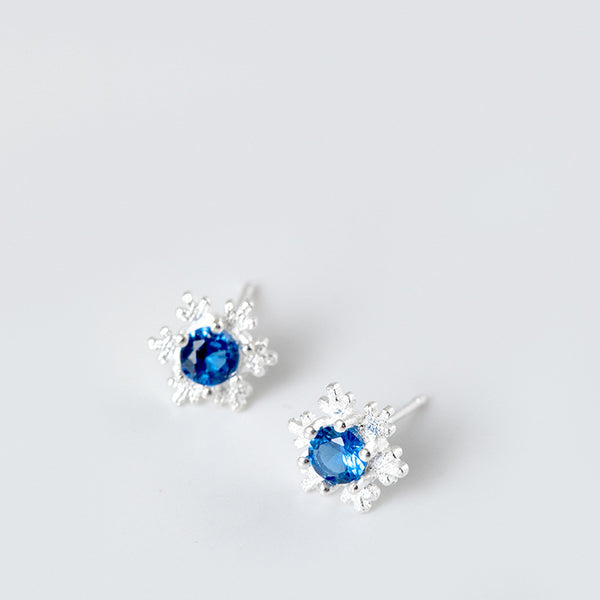 925 sterling silver snow stud earrings
