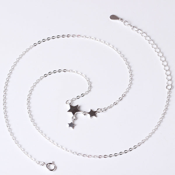 925 Sterling Silver Pentagram clavicle chain necklace
