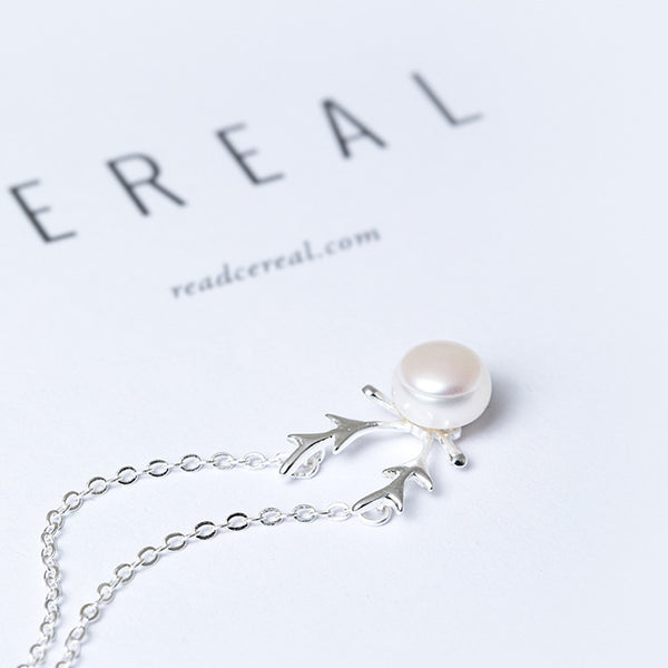 925 Sterling Silver Pearl antlers necklace