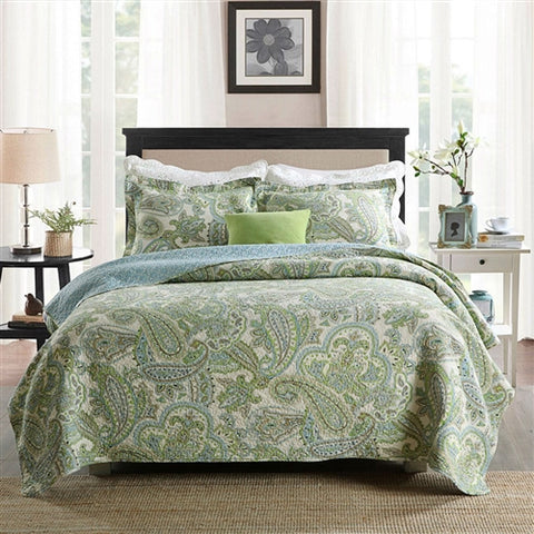 Queen 3-Piece 100-Percent Cotton Bedspread Quilt Set with Green Paisley Pattern