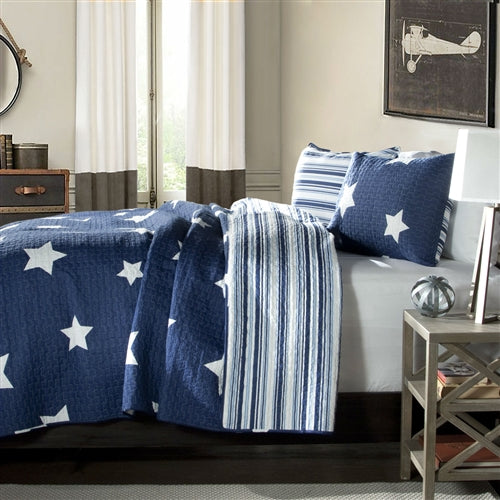 Full / Queen Quilt Navy Stars And Stripes At Night Coverlet Bedspread Set