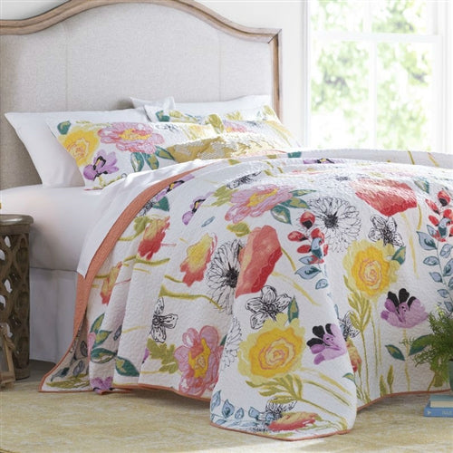 Full/Queen Quilt 100% Cotton Reversible Coverlet Bedspread Set Flowers