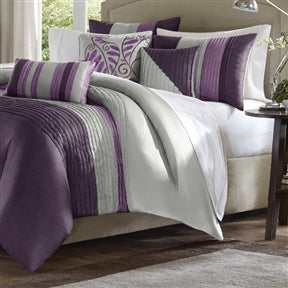 King size Bed in Bag Comforter Set Amethyst Plum Purple Gray Stripes