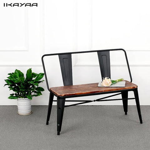 iKayaa 2 Seater Outdoor Bench Chair with Backrest Natural Pinewood Top Metal