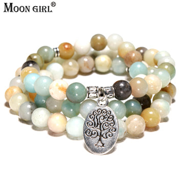 MOON GIRL Amazonite Stone Tree of Life Yoga Women't Wrist Bracelet.