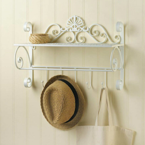 Scrolled White Metal Wall Shelf with Hooks
