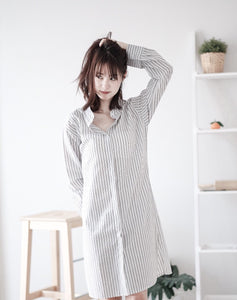 [Pre-Order 5-12 Days] Little Often 2018  A  striped shirt dress