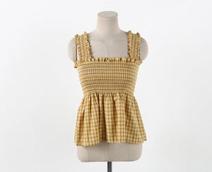 [Pre-Order 5-12 Days] Little Often 2018 Smocked Plaid Tank Top