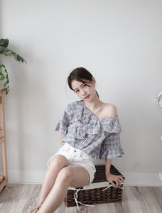 [Pre-Order 5-12 Days] Little Often 2018 V Ruffle Plaid Top