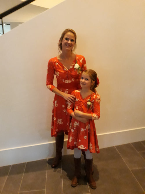 Moeder dochter jurken - matching dresses -just like mommy'z - twinning dress Flame
