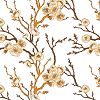Brownish Blossoms on White Logo