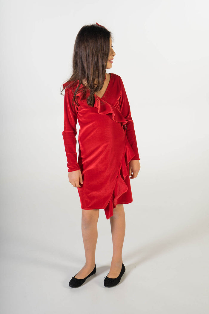 Valentina red velvet party dress ME - Moeder dochter matching kleding en accessoires - twinning jurken - feestjurken - Mother daughter matching dresses | Just Like Mommy'z | Christmas Holiday Collection - Kerst Collectie - mummy and mini me