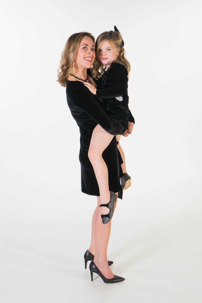 Valentina black velvet party dress Mama & ME - twinning jurken by Just Like Mommy 'z