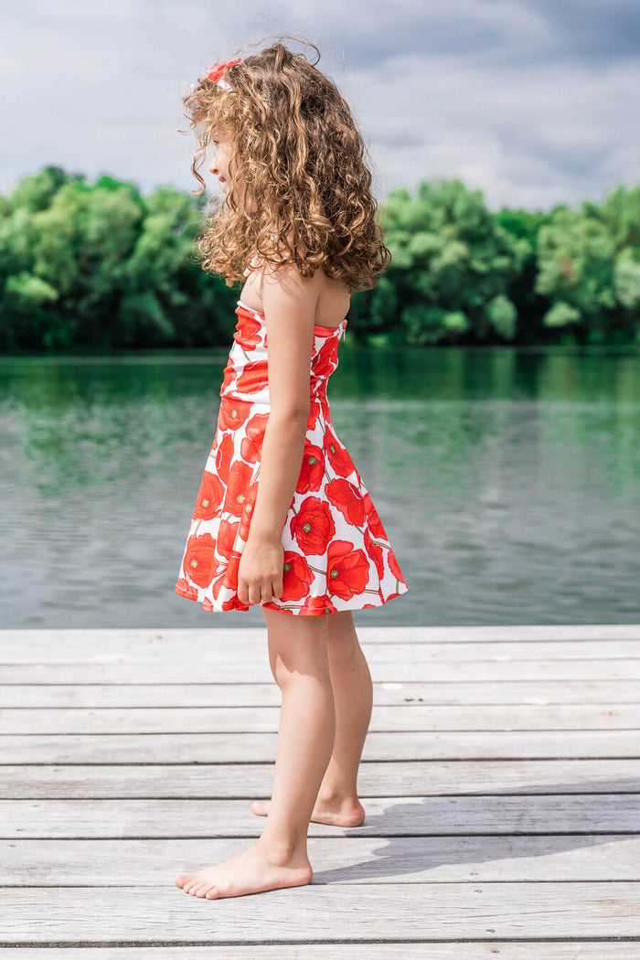 Moeder dochter jurken - matching kleding - twinning jurken - zomer feestjurk - mother daughter dresses by Just Like Mommy'z - red poppy - strapless twinning set - Mini Me outfits