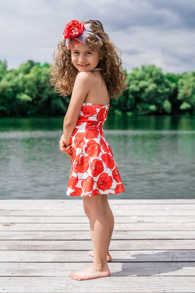 Moeder dochter jurk - matching kleding - twinning jurken - zomer feestjurkje - mother daughter dresses by Just Like Mommy'z - red poppy - strapless twinning set