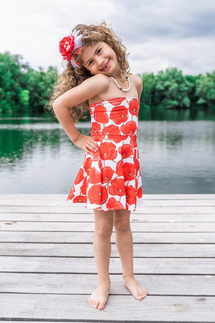 Moeder dochter jurk - matching kleding - twinning jurken - zomer party jurkje - mother daughter dresses by Just Like Mommy'z - red poppy - strapless twinning set