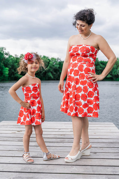 Moeder dochter jurken - matching kleding - twinning jurken - zomer feestjurk - mother daughter dresses by Just Like Mommy'z - red poppy - strapless twinning set