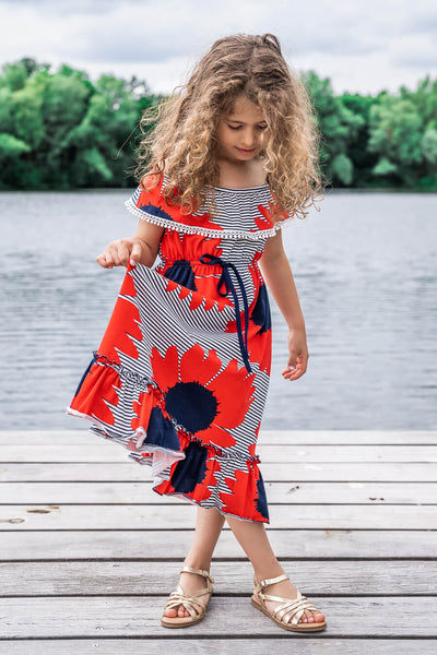 Moeder dochter zoon matching kleding twinning jurken zomerjurk - mama & me summer dress by Just Like Mommy'z red off the shoulder