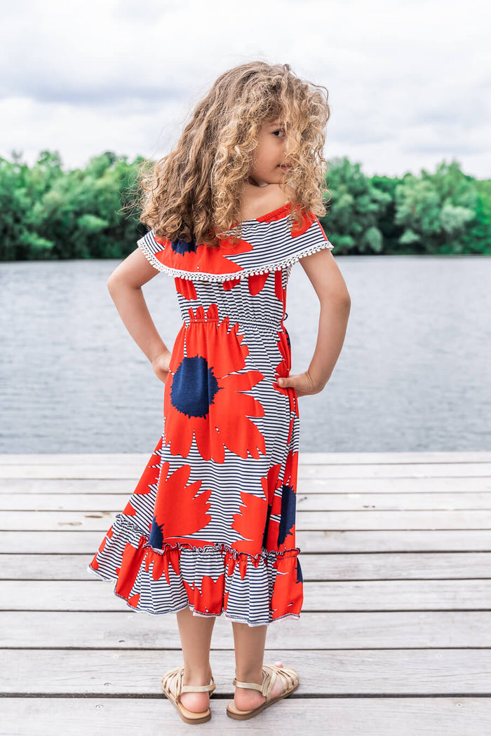 Moeder dochter kleding - twinning jurken - zomer moeder dochter jurk - mama & me summer twinning dress by Just Like Mommy'z - red maxi off shoulder- Mine Me outfit