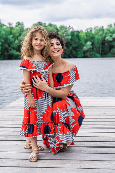 Moeder dochter zoon matching kleding twinning jurken zomer feestjurk - mama & me summer dress by Just Like Mommy'z red off the shoulder