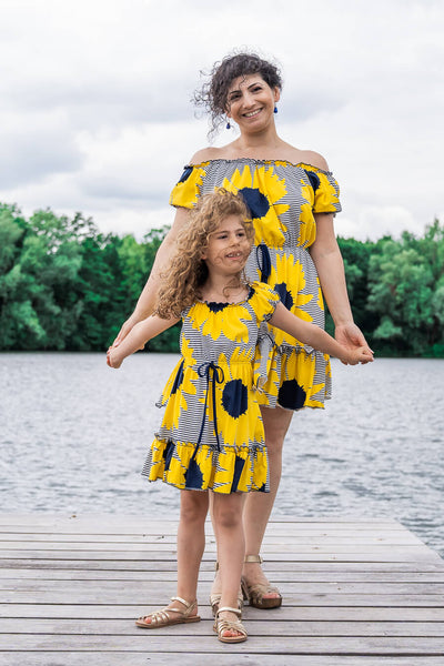 Moeder dochter zoon matching kleding twinning jurken zomer feestjurk - mama & me summer dress by Just Like Mommy'z sunflower