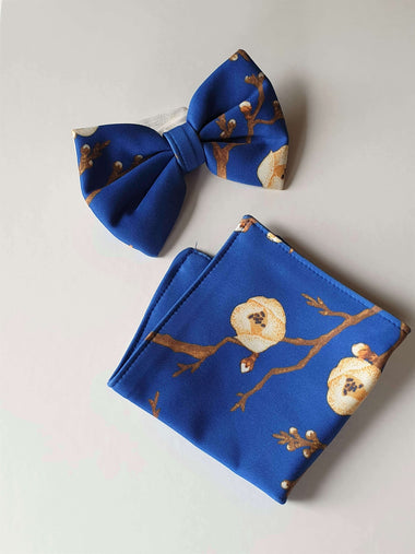 blue bow-tie and pocket handkerchief set - family matching - Just Like Mommy'z