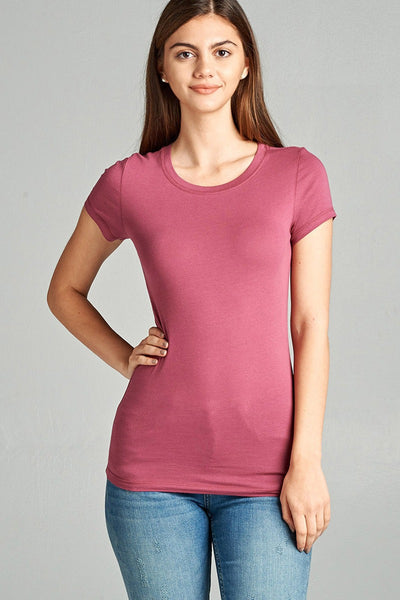 Simple Style Contrast Neck Tee