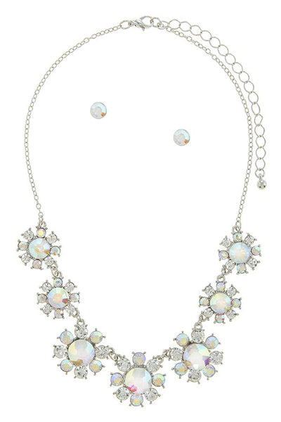 Flower Faux Gem Statement Set