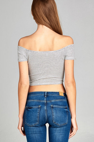 Malibu Stripe Ribbed Off The Shoulder Top
