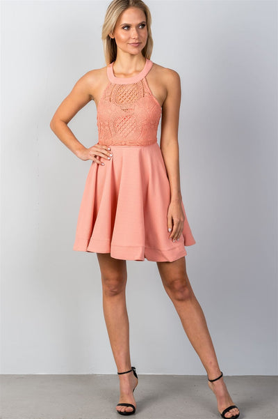 Blush High Neck Mini Dress