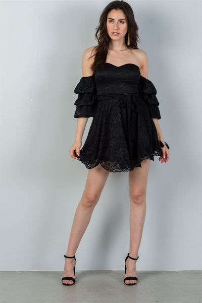 Flounced Off The Shoulder Mini Dress