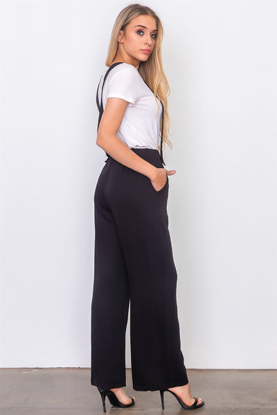 Black suspender woven pants