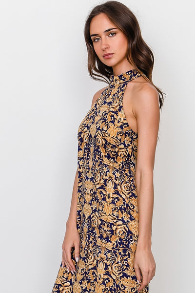 Gold print Sleeveless Maxi Dress