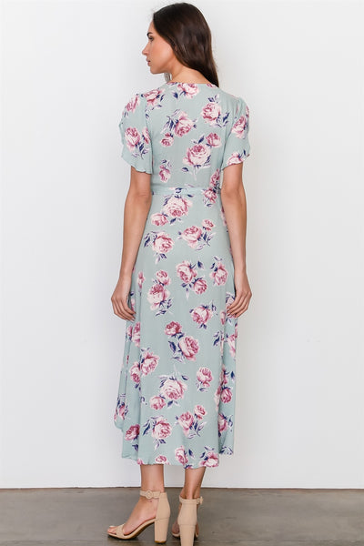 Sage rose print wrap around hi-low dress