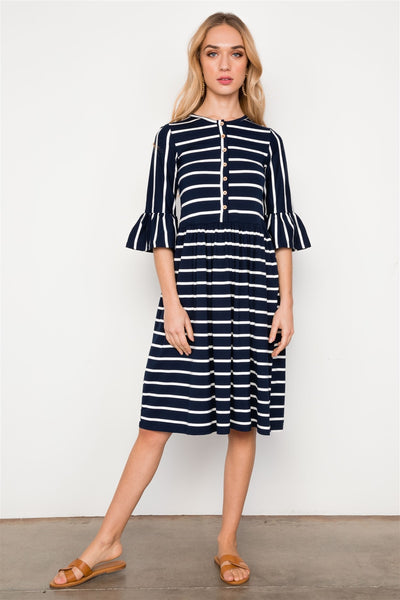 Striped Ruffle Sleeve Midi Boho Dress