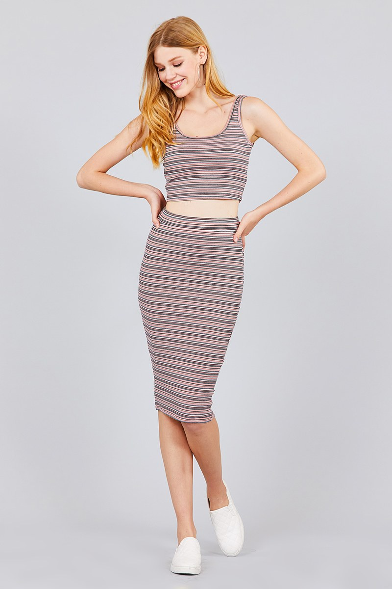 Striped Top & Pencil Skirt Set