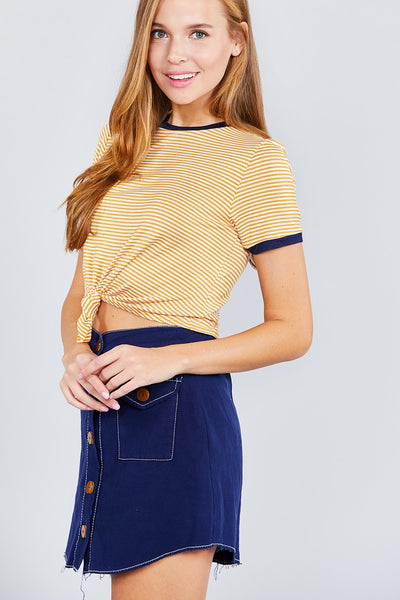 Short Crew Neck W/ Front Tie Top
