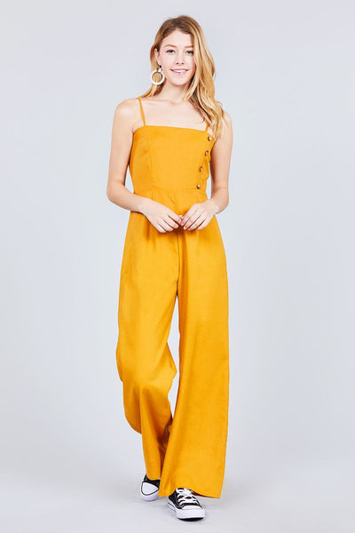 Button Down Cami Linen Jumpsuit